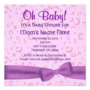 Pink and Purple lLeopard Faux Bow Baby Girl Shower Custom Invitation from Zazzle.com