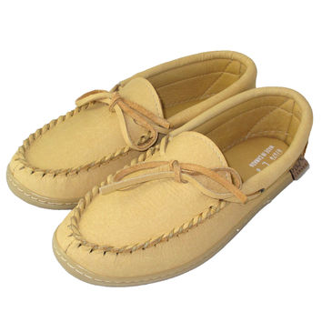Women's Rubber Sole Moosehide Leather Moccasins - 41474