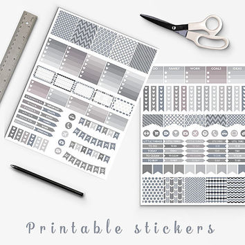 50% OFF SALE Ivory And Gray Planner Stickers Printable Stickers Erin Condren Filofax Box Stickers Page Flags Weekend Banners To Do Stickers