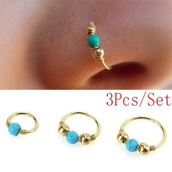 3Pcs/Set Sexy Nose Ring Turquoise Nostril Hoop Nose Earring Piercing Jewelry for Gifts