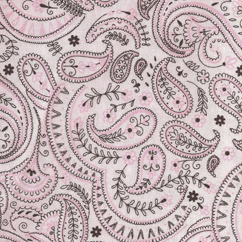 Pink White, Brown paisley Cotton Fabric, Quilting, 1/2 Yard, more yardage available