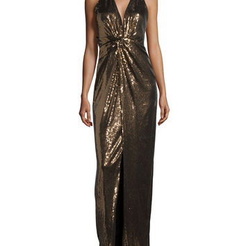 Embellished Halter-Neck Evening Gown, Bronze/Black, Size: