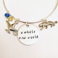 A Whole New World Aladdin Jasmine Genie Disney Princess Inspired Stamped Adjustable Bangle Charm Bracelet
