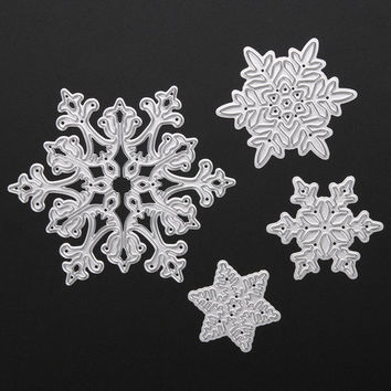 4pcs/set Cutting Dies Metal Snowflake Christmas Cutting Dies Stencils for DIY Die Cut Stencil Decorative Scrapbooking Craft