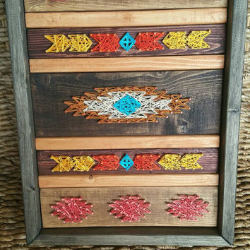One of a Kind Navajo Indian Pattern String Art, Earthtoned Framed Tribal Nail and String Art Sign, Wooden Wall Hanging, Ready to Ship