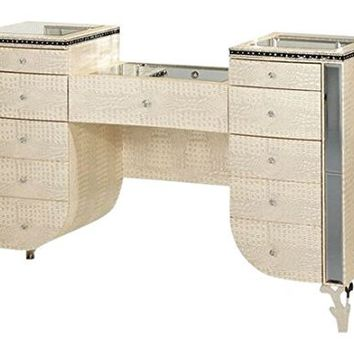 Michael Amini Hollywood Swank Upholstered Vanity, Crystal Croc