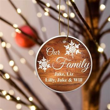 '-Our Family Ceramic Pine Ornament - Personalized Free