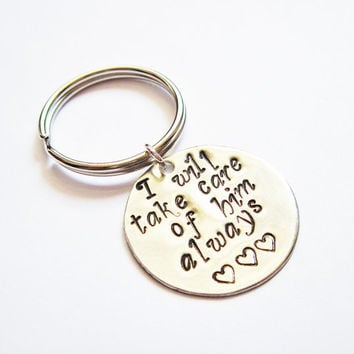Mother In Law Keychain, New Mother in Law, Mothers Day, Mother of the Groom Gift Keychain, In Law Gift, I will take care of him always disc