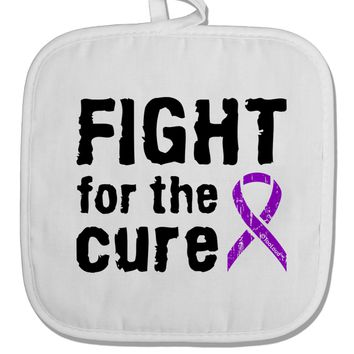 Fight for the Cure - Purple Ribbon Crohn's Disease White Fabric Pot Holder Hot Pad