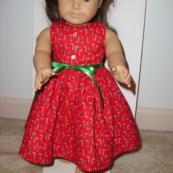 "Holiday Christmas Red Candy Cane American Girl Dress for 18"" Doll with Buttons and Ribbon"