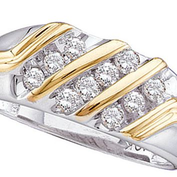 10kt Two-tone Gold Mens Round Diamond Band Wedding Anniversary Ring 1/2 Cttw