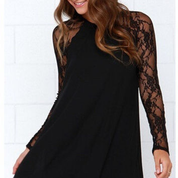 See Through Lace Patchwork Chiffon Umbrella Dress Round-neck Long Sleeve One Piece Dress [6339094593]