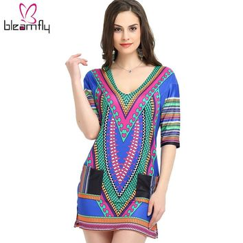 Dresses Women Tranditional Print Sexy V-neck Summer Indian T Shirt vintage Dress Tunic Clothing