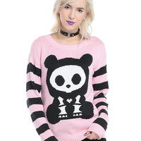 Skelanimals Bear Pink Striped Girls Sweater