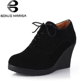 BONJOMARISA Hot Sale High Heel Wedges Platform Pumps Women Lace up Casual Shoes Woman Fashion Comfortable High Quality Footwear