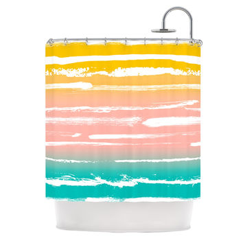 "Anneline Sophia ""Painted Stripes Peach"" Pink Teal Shower Curtain"