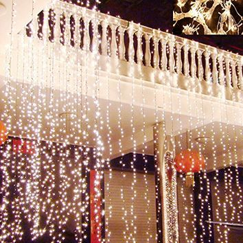 Hikong 3M * 3M 300 LED Christmas Outdoor Party Xmas Festival Fairy String Wedding Curtain Light 110V 8 Modes for Holiday Decoration Lighting (Warm White)