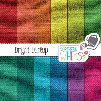 Burlap Digital Paper - burlap textures in bright colors - rustic burlap scrapbook paper - printable burlap paper - commercial use