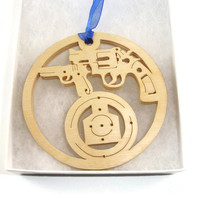 Shooting Range 9mm and Revolver Christmas Ornament Handmade From Birch Wood By KevsKrafts