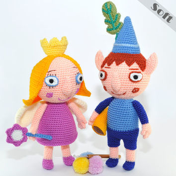 Ben Elf And Princess Holly, Soft Toys From  Ben And Holly's Little Kingdom. Crochet, Amigurumi