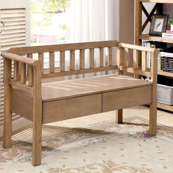 Furniture of america CM-BN6357NT Lexlip weathered natural tone finish wood storage entry bedroom bench