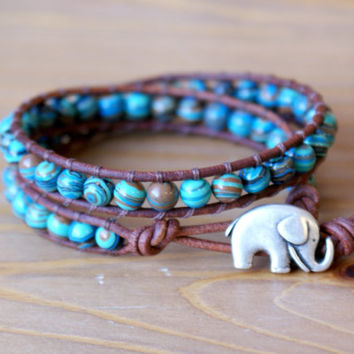 Turquoise Composite Bohemian beaded leather wrap bracelet, double, Blue, Brown, Good Luck charm, silver elephant, trendy boho shabby chic