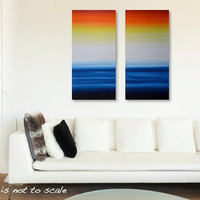 Large 36 x 36 Original Abstract Sunrise Seascape Diptych Painting - Acrylic Canvas Wall Art Home Decor - Bright Blue, Yellow, Orange, Red