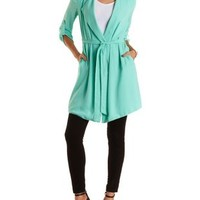 Mint Draped Chiffon Longline Trench Coat by Charlotte Russe