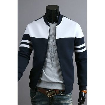 Pluse Size 2017Autumn and Winter Fashion Men's Fashion Black and White Hit Color Stitching Design Casual Jacket Coat
