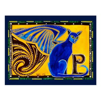 Winged Feline Hybrid Animal Cat Art Postcard