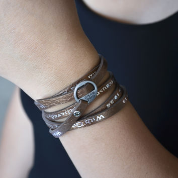 Bible Verse Wrapped Leather Bracelets | Matthew 19:26