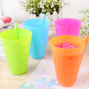 1Pc/4Pcs Creative Toddler Kids Training Cup Plastic Juice Drinking Mug Tumbler with Straw Fpr Easy Drinking Tools 4 Colors