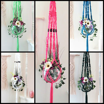 Macrame plant hangers, colorful hanging planters, Boho Plant Holder, Vintage 70s decor, beaded pot hanger, custom handmade rope plant hanger
