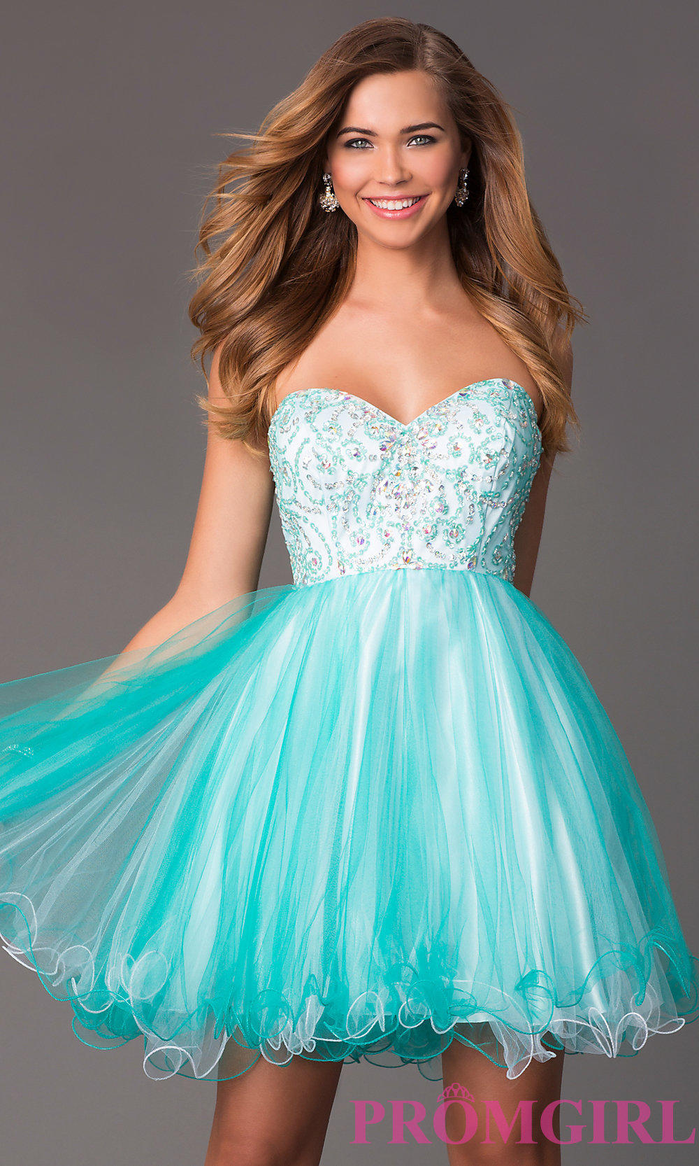 Short Strapless Sweetheart Babydoll Dress from PROMGIRL.COM