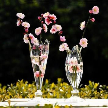 O.RoseLif Romantic Crystal  Wedding Decoration Happy  Hydroponic  Flower Glass Vases  Decor Home Decoration Party Decoration
