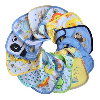 8pc/lot Hot Cotton Baby Bibs Infant Embroidered Saliva Towels Baby Burp Cloths Funny Baby Waterproof Bib