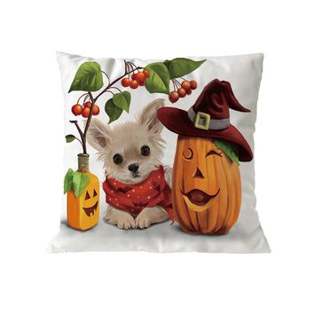 Cat and Pumpkin Polyester Throw Pillow Case Halloween Decorative Pillows Cover For Sofa Seat Cushion Cover 45x45cm Home Decor