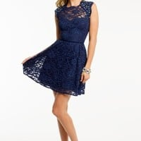 Short Lace Dress with Tie Back Neck