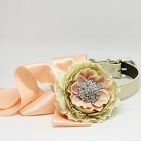 Champagne and Blush Wedding Dog Collar, Pet Floral dog collar, Burlap wedding, Choker Necklaces