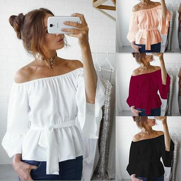 Womens Stylish Chiffon Off Shoulder Casual Top