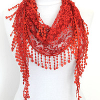 red scarf,lace scarf,scarf,gift