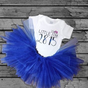 Personalized Little Ms. Custom Police Badge Number Glitter Baby Girl Onesuit with Royal Blue Tutu