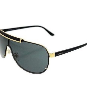 Versace Men's Black Gold Shield Sunglasses Metal Frame Authentic Italy