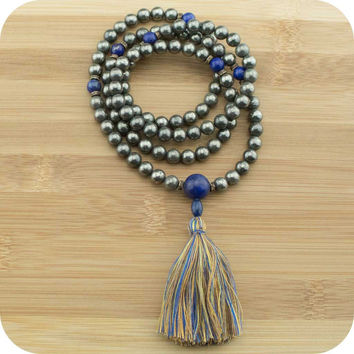 Golden Pyrite Mala Necklace with Lapis Lazuli