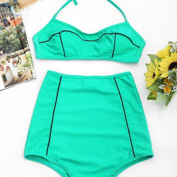 High Waisted Padded Halter Bikini Set