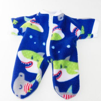 "Cabbage Patch Clothes, fits 16 inch boy doll, ""Noah meets the Sharks"", Blue Shark Fleece Pajamas Pjs Sleeper"