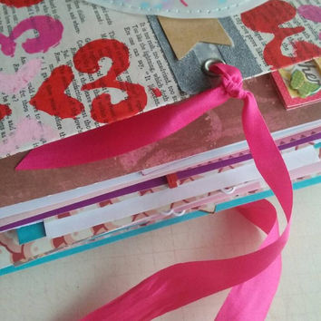 Valentine's Day junk journal. Valentine smash book. Love journal. Includes USA shipping.