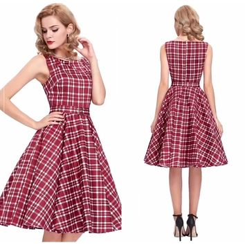 Retro Inspired Cocktail Dress - Red Plaid, Sizes Small - XLarge