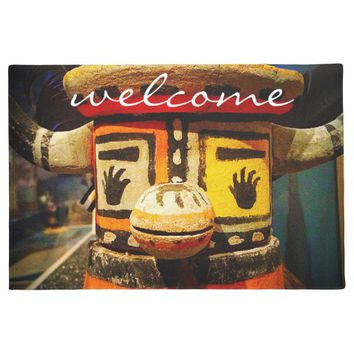 """Welcome"" cute funny friendly face photo doormat"