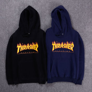 New Autumn Winter Trasher Men's Hoodies Streetwear Skateboard Hip hop Hoody Thrasher Sweatshirt Men Women Tracksuit 4XL